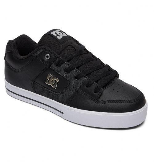 DC SHOES MENS TRAINERS.PURE SE PREMIUM LEATHER PADDED BLACK SKATE SHOES 8S 24 XK